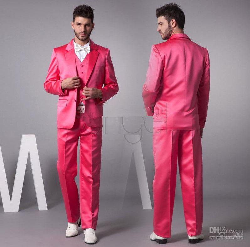 Compre Trajes De Hombres Hot Pink New Groom Smokinges Material De ...