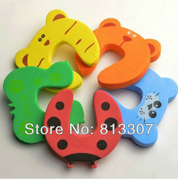 Wholesale Door Jammers - Baby Animal Cartoon Jammers Stop Door stopper holder lock Safety Guard Finger Protect Free Shipping