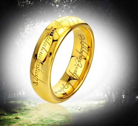 Men's the Lord of the Ring, anelli in puro acciaio al tungsteno placcato oro, power finger Ring