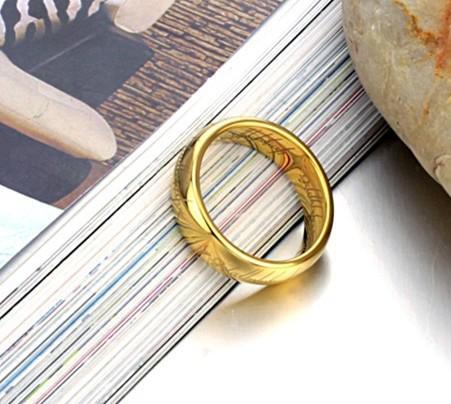 Le Seigneur de l'anneau pour hommes, bagues plaquées or en acier au tungstène pur, anneau de doigt de puissance