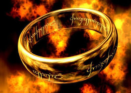 Золото 18k чистое онлайн-Men's the Lord of the Ring,power pure tungsten steel gold plated rings,power finger Ring