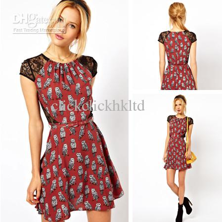 Top Quality Women Sexy Lace Dress Owl Pattern Cotton Blended ...