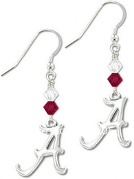 Wholesale Crystal Bicone - free shipping alloy letter ALABAMA with Bicone Crystal Earrings sports Earrings