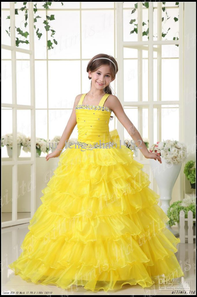 Yellow Layer Beaded Stone Flower Girl Dresses 2013 Wedding Pageant ...