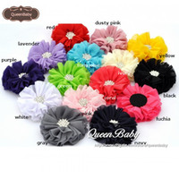 "Wholesale Chiffon Flowers Rhinestones - NEW 2.5"" Ballerina Flowers Chiffon Flowers with Sparking Rhinestone Button 15 COLOR Newborn Photography Props 40PCS LOT QueenBaby"