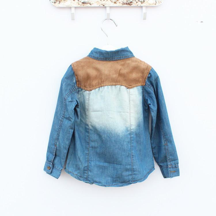 Jongens 2013 denim shirts lange mouwen shirts lente herfst stijl tops kinderkleding