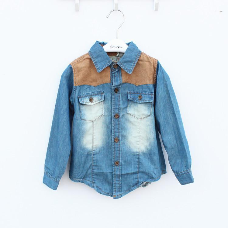 Boys 2013 Denim Shirts Chemises à manches longues Printemps Automne Tops Vêtements pour enfants