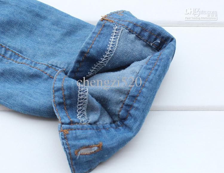 Niños 2013 Camisas de mezclilla Camisas de manga larga Estilo de otoño de primavera Tops Ropa de niños