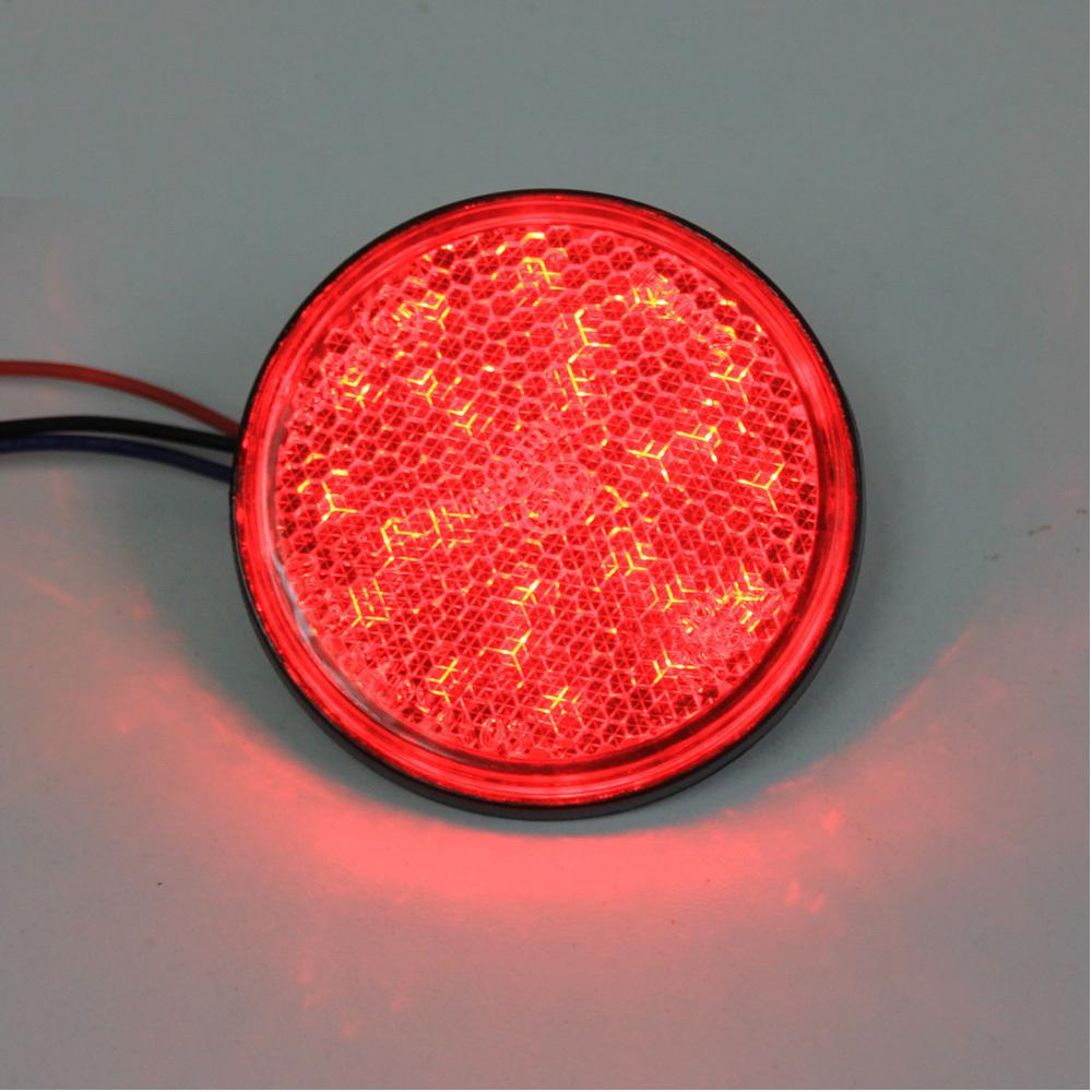 Led Motorcycle Light Car Truck Red Led Reflectors Round