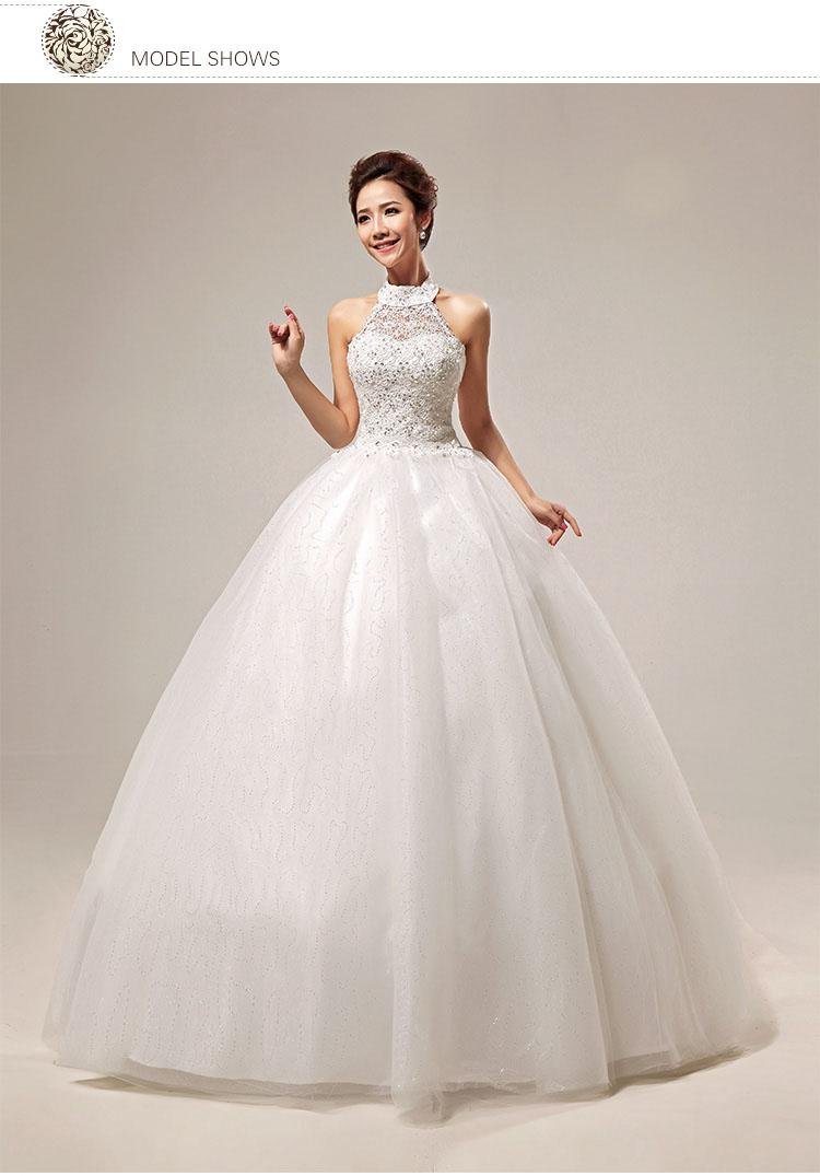 Discount Princess Halter Ruffle A Line Wedding Dress Slim Chiffon Sweetheart Bow Bead Lace Up Ball Gown White Color Style