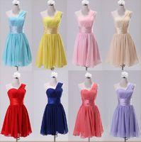Wholesale Womens Pink Summer Ruffle Dress - Womens Spring Chiffon Short Wedding Club Party Bridesmaid Prom Ball Evening Chiffon Dress One Shoulder 12 colors