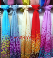 Wholesale Embroidered Scarf Chiffon - Fashion Girl women chiffon imitation silk long scarf beach scarves wraps Sarongs mixed designs colors gift drop shipping
