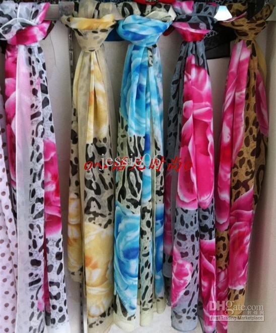 Fashion Girl women chiffon imitation silk long scarf beach scarves wraps Sarongs mixed designs colors gift drop shipping
