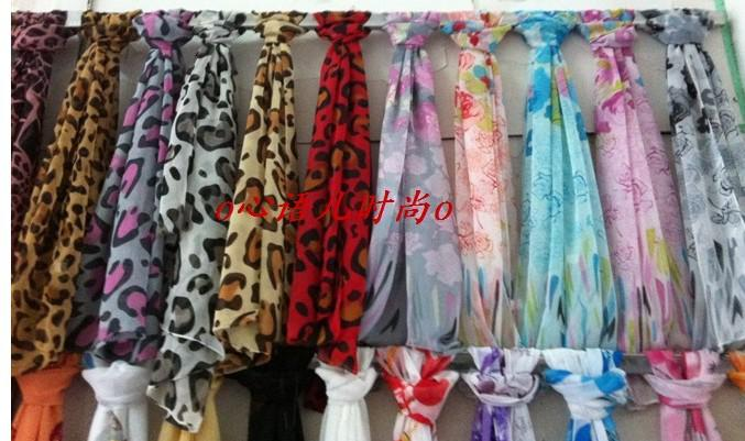 Fashion women chiffon imitation silk long scarf beach scarves wraps Sarongs mixed designs colorful drop shipping