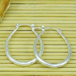 Wholesale Solid Silver Hoop Earrings - New Hot Sale 925 Silver Solid Oval Hoops Charms Earrings Women's Amazing Earrings