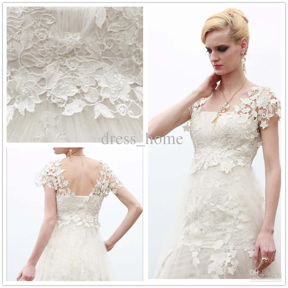 High quality a line strapless white lace ankle length short sleeve high quality a line strapless white lace ankle length short sleeve bridal gowns wedding dresses wedding ball gowns 2014 wedding dresses ball gowns from ombrellifo Image collections