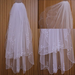 Wholesale Embroidered Wedding Veils - Hot sale free shipping actual picture tulle Blusher Veils Two Layer vestidos de noiva wedding bridal accessories