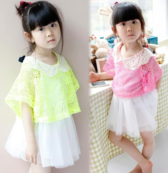 2013 Girl's Dresses Sets Lace Tops + Straps Yarn Girls Dress Two-Piece Sets Children's Clothing