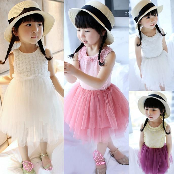 2013 Girl's Dress Flowers Cotton Patchwork Veil Puff Dresses Summer Tank Dress Children's Clothing