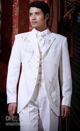Wholesale White Groomsmen Embroidery Suits - Custom Made New Suits For Men White Groom Tuxedos Embroidery Groomsmen Men Wedding Suits(Jacket+Pants+Tie+Vest)H147