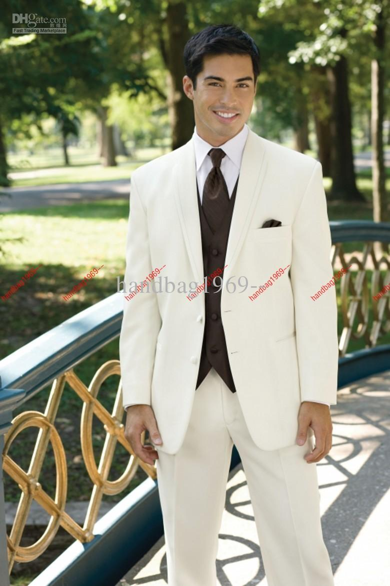 Ivory Groom Tuxedos Groomsman Suit Wedding Mens Suits Jacket+Pants ...