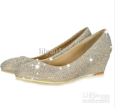 edd4dc49c0a 2013 New Style Silver Rhinestone Wedge Shoes Pumps Diamond Low Heels Wedge  Pumps Mens Slippers Footwear From Lilya0507