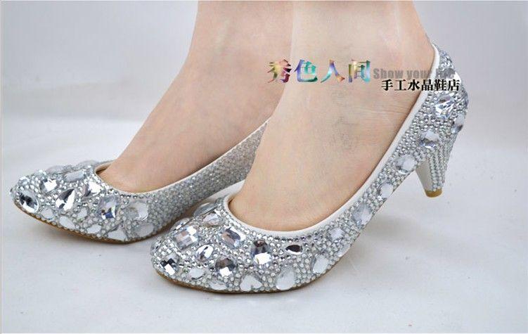 Bon Rhinestone Crystal Low Heel Pumps Shoes Silver Diamond Shoes