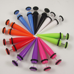 Wholesale Fake Ear Stretchers - 100pcs Candy color 8mm Fake Ear Taper Stretchers Acrylic Body Piercing Jewelry