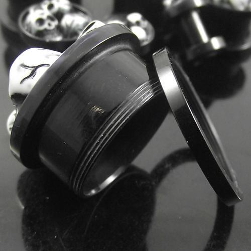 32 unids / lote 8 tamaños 3D Skulls Acrílico Stash Ear Plugs AcrylicSkeleton Flesh Tunnel UV piercing joyería