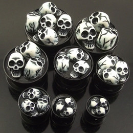 Wholesale Tunnel Plug Skull Wholesale - 32pcs lot 8 sizes 3D Skulls Acrylic Stash Ear Plugs AcrylicSkeleton Flesh Tunnel UV piercing jewelry
