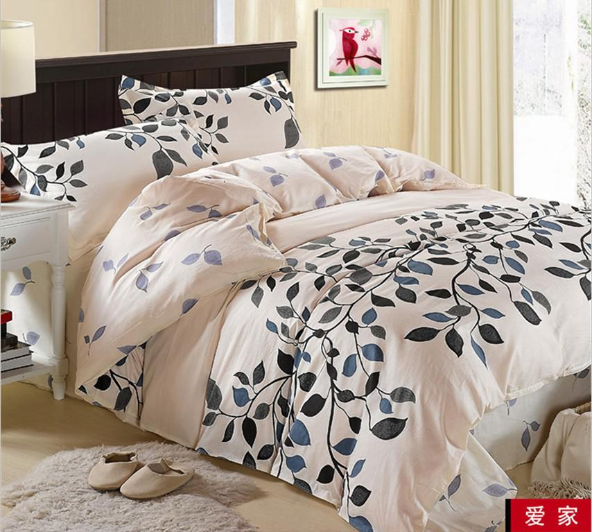 Cream Blue Gray Black Leaf Flower Cotton Queen Size Duvet