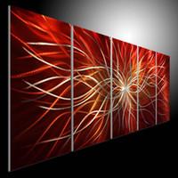 Metal Modern Abstract Art Oil Painting art Sculpture Decor original art RED