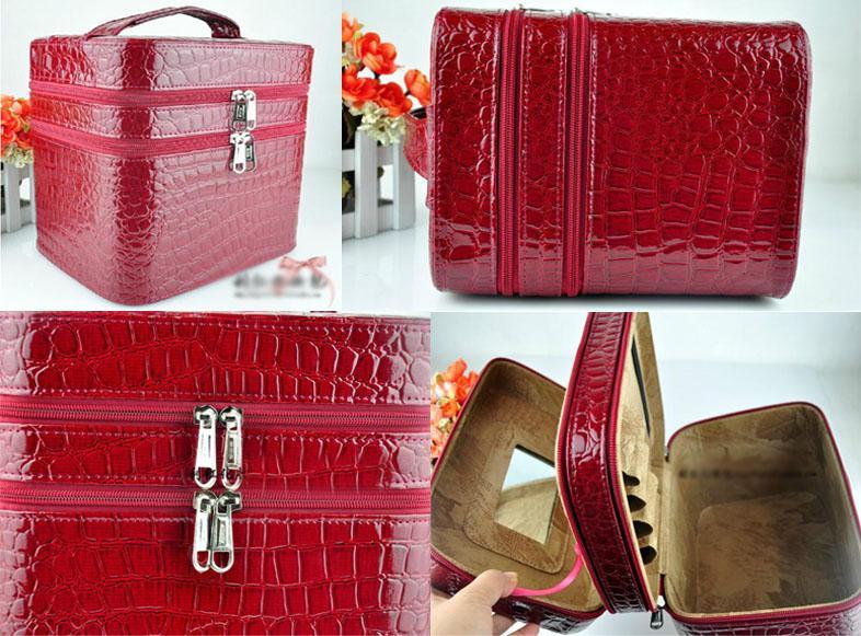 Women 2 Tier Beauty Case Travel Makeup Large Cosmetic Toiletry Zipper Bag Handbag D009 Makeup Brush Sets Train Case From Mirandaking, $58.64| DHgate.Com