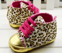 bebek ayakkabıları toptan satış-2017 yeni Bebek kız ayakkabı Leopar Toddler ayakkabı yumuşak taban bebek Yürüyüşe Rahat Giysiler Rahat Ayakkabılar (6 adet / grup)