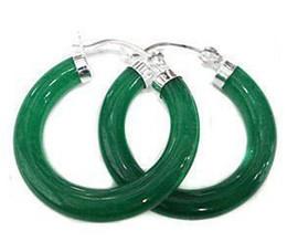 Wholesale Hoop Jade - Tibet Silver Charming Green Jade Hoop & Huggie Earring