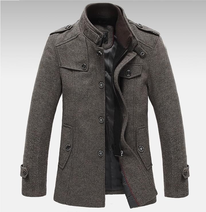 New Fashion Jackets For Men Overcoat Splice Woolen Jacket High ...