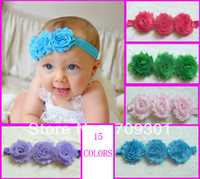 Wholesale Triple Shabby Headbands - Chic Triple Shabby Flower Headbands Baby Headbands Newborn Headband 24pcs lot 15 Colors In Stock