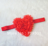 """Wholesale Heart Shabby Flower Wholesale - 3.5"""" Shabby Heart Headbands Valentine's Headbands Hot Pink Flower Headbands 30Pcs Free Shipping"""