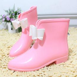 Wholesale Short Rainboots Women - Bow Rain Shoes Jelly Rain Boots Thermal Rainboots Fashion Short Shoes Women's Water Shoes