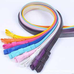 Wholesale Double Bow Belt - New Women's Nice colors sweet double layer bow lady strap belt decoration PU leather Thin belt #5149
