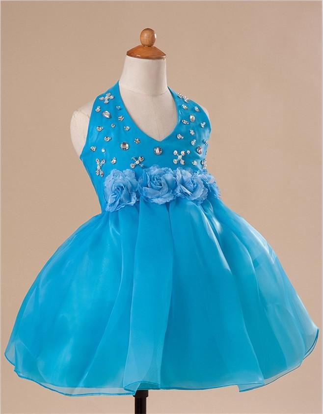 2013 Hot Sale New Design Cute Halter Tea-Length Beaded Han-made Flower Organza Flower Girl Dress