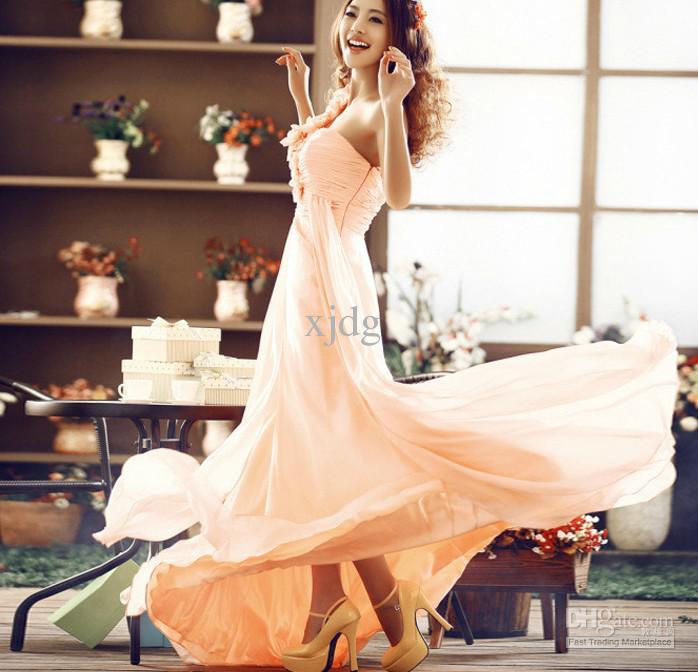 Sexy Une Epaule Cherie De Mousseline De Soie Sirène A volants Robe formelle Cocktail jour speciale bal soirée soirée robe De Demoiselle D'honneur