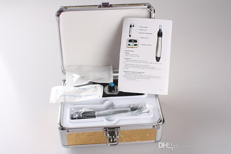 2013 más nuevo Dermapen autoeléctrico con de 12 agujas de consejos para auto gratis Microneedle Derma Rolling System Pen DHL envío gratis