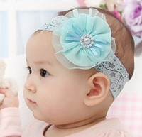 Wholesale blue centre - Vintage Lace Chiffon Flower Pearl Centre Headbands Toddler Headbands Newborn Headbands 7659