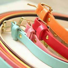 Wholesale Women Skinny Belt - 9 colors ladies cheap skinny belt women Fluorescent Fashion thin Belts 110cm length 10pcs lot #5158