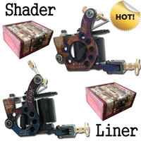 Wholesale Tattoo Machine Handmade Material - Hot! 2 Handmade Tattoo Machine Gun Shader Liner + 2 Free Wooden Boxes T2