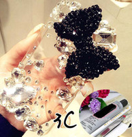 Wholesale Decoration Kits For Mobile Phone - 3D luxurious bowknot bling jewelry Rhinestone art craft cellphone mobile phone cases DIY kits decorations glue