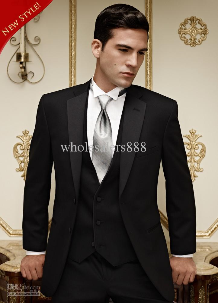 Compre Venta Caliente Negro Novios Esmoquin Muesca Solapa Padrino De Boda  Hombres Trajes De Boda Chaqueta + Pantalones + Corbata + Chaleco H550 A   85.46 Del ... 66c56432ae2