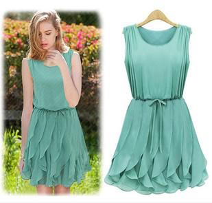 Sale Ladies Mint Green Summer Dress Fashion Knee Length Navy Blue ...