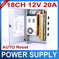 Wholesale Switching Power Supply Box 12v - 18CH 12V 20A CCTV power supply box   12V 20A 240W monitor power supply   switch power supply AUTO-RESET
